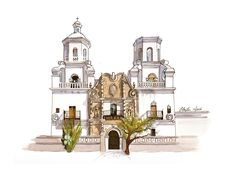 Mission San Xavier del Bac in watercolor, pen and ink by artist Esther BeLer Wodrich. Find limited edition prints and original for sale online at  www.estherbeler.com/shop.