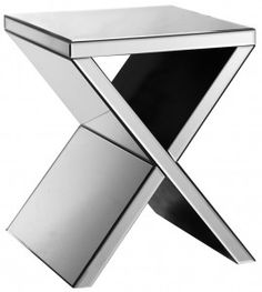 Exeter Mirrored Corner Table: Cool and contemporary, Exeter is a mirrored accent table with X-shaped legs.