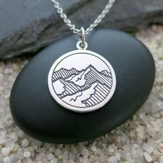 Mountains Necklace, Sterling Silver Etched Mountain Pendant, Nature Necklace, Simple Jewelry