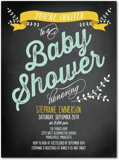 Chalked Appeal - Baby Shower Invitations - Picturebook - Sunflower Yellow with chalkboard design #baby