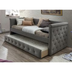 Charlton Home Reasor Daybed with Trundle Color: Light Gray