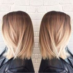 Straight-Long-Bob-Haircut-Blunt-Medium-Hairstyles-Blonde-Ombre-Hair-Style #mediumhairstyles