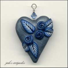 Hearts to God silver & blue
