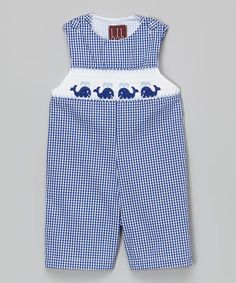 Love this Blue Checker Smocked Whale Overalls - Infant & Toddler by Lil Cactus on #zulily! #zulilyfinds