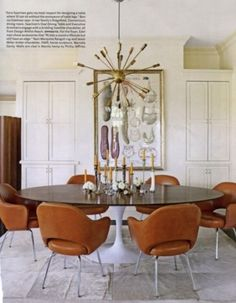 Residence of Design Within Reach founder John Edelman: Saarinen table, Saarinen executive chair covered in Edelman leather. Mesa Saarinen, Table Saarinen, Saarinen Tisch, Decoration Inspiration, Dining Room Inspiration, Decor Ideas, Life Inspiration, Design Inspiration, Dining Room Design