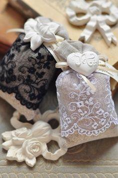 lace covered burlap sachets