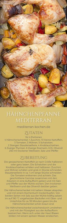 Mediterranean One Pot Chicken Potatoes Vegetable Recipe Hähnchenpfanne mediterran mit Gemüse Rezept