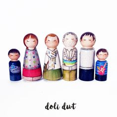 Pegdolls gifts & Wedding Cake toppers: personalised gifts to be treasured Fishermans Friend, Clothespin Dolls, Family Set, Fishing Gifts, Little Monkeys, Wooden Pegs, Personalised Gifts, Doll Head, Gift Wedding