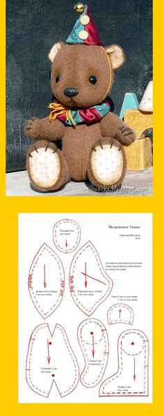 Amazing Home Sewing Crafts Ideas. Incredible Home Sewing Crafts Ideas. Plushie Patterns, Doll Patterns, Sewing Patterns, Bear Patterns, Doll Crafts, Sewing Crafts, Sewing Projects, Diy Y Manualidades, Fabric Animals