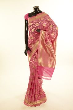 Banarsi- silk pink saree with blouse