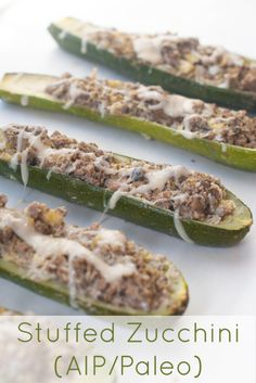 Stuffed Zucchini (AIP/Paleo): Ingredients: 4-6 Large zucchini 1 lb ground beef 1 cup plus 2 TBS of dairy free white sauce (see recipe below) 5 medium mushroom caps, diced 1 small onion, diced 2 cloves of garlic , minced 1 tsp sea salt 1 tsp dried oregano Directions: Preheat oven to 350 degrees. In a large pan cook your ground beef and break into small crumbles. In a large mixing bowl combine your mushrooms, onion, garlic, salt, and oregano. Cut the stems off of your zucchini and t...