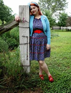 vintage plus size rick rac dress and blue cashmere cardigan with novelty brooch
