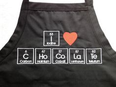 """I Love CHoCoLaTe Apron Embroidery 34"""" Periodic Table by JulsSewCrazy, $24.00"""