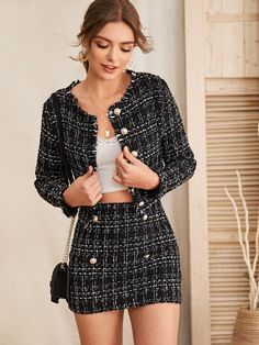 To find out about the Raw Trim Tweed Jacket & Button Detail Skirt Set at SHEIN, part of our latestTwo-piece Outfits ready to shop online New Arrivals Dropped Daily. Mode Outfits, Girly Outfits, Cute Casual Outfits, Skirt Outfits, Stylish Outfits, Fashion Outfits, Vest Outfits, Fashion Capsule, Outfit Stile