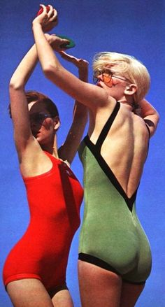 Swimsuits Cardin Diffusion and Courrèges, sunglasses Jean-Louis David, Marie France June 1972