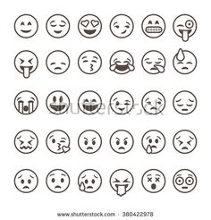 Set of outline emoticons, emoji isolated on white background, vector illustration. - stock vector