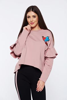 Rosa casual embroidered flared sweater with ruffled sleeves, easy cut, embroidery details, knitted fabric, women`s sweater, Ruffled sleeves