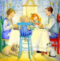 """With The Family You Love"" original watercolor illustration from The House That's Your Home written by Sally Lloyd-Jones and Illustrated by Jane Dyer 
