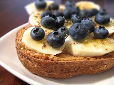 Blueberry-Banana Toast Spread a half-slice of reduced-calorie bread with a teaspoon of almond butter, then pile it high with blueberries and banana slices.