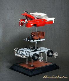 Exploded View of 1955 Chevy Bel Air - Lego Chevrolet Bel Air, 1955 Chevy Bel Air, Lego Minecraft, Lego Moc, Lego Lego, Lego Technic, Lego Batman, Legos, Cars