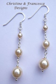 ♥ CHOICE of 6 lovely COLOURS ♥ CREAM IVORY <3 .925 Sterling Silver Glass Pearl Long Drop Bridal Earrings + Gift Box & Organza Gift Bag ~ by Christine & Francesca Designs ---- #handmade #handcrafted #jewellery #dangle #earrings #bridal #bridesmaid #wedding #pearl #glass #sterling #silver #cream #ivory