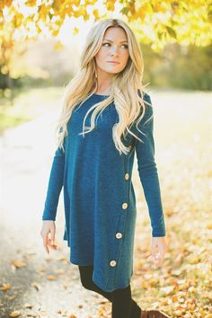 Button Detail Sweater Tunic Dress! 11 Colors!