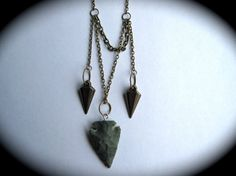 Green Arrowhead Pendant Necklace With Brass by HomeGrownIllinois, $20.00