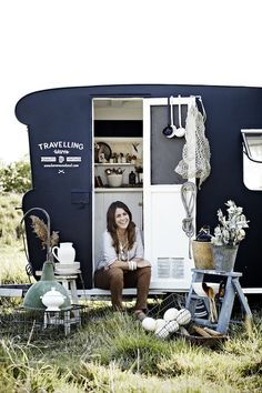 Kara inside Frankie, her mobile homewares store 'Travelling Wares'. Photography -Sharyn Cairns.