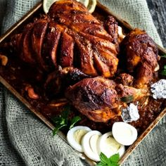 Indian Style Stuffed Whole Chicken Roast in Spiced Gravy - It is finger licking good!
