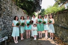 Sophie wore a Ghost dress for her elegant Spring wedding. Her bridesmaids wore mint green. Photography by http://www.matildadelvesweddingphotography.com/
