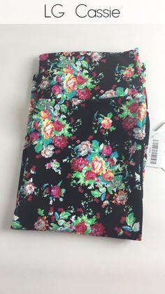 Lularoe Cassie Skirt - Floral (Black Background)