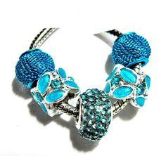 european bead set blue lampwork rhinestone charms PBS1023  | egrobeck - Jewelry on ArtFire