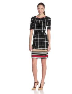Maggy London Women's Elbow Sleeve Window Pane Belted Dress at Amazon Women's Clothing store