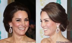 See Kate's glamorous new evening gown by Alexander McQueen and her colossally sized earrings as the Duchess of Cambridge attends the BAFTA Awards.