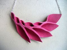 Petal Collection Hot Pink Leather Petals Necklace by HaKNiK, $30.00