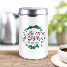 Personalised Christmas Wreath Coffee