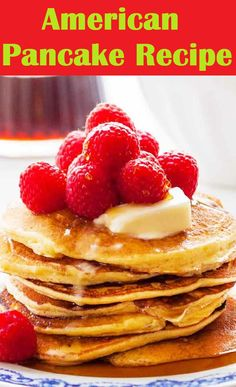 Fluffy, American-style, easy are great for feeding a crowd at brunch or . Top with something sweet like jam or syrup, fruit, or rashers of crispy bacon. Popular Food, Popular Recipes, New Recipes, Cooking Recipes, My Favorite Food, Favorite Recipes, Delicious Recipes, Tasty, American Pancakes