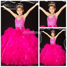 Wholesale Free Shipping Ball Gown Lovely Beaded Ball Gown Halter Organza Flower Girls Dresses 2013, Free shipping, $65.35/Piece | DHgate Mobile