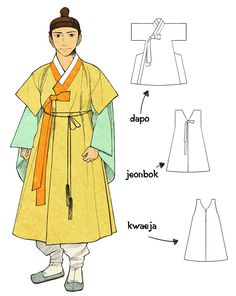 """Short Sleeve Gowns by Glimja.deviantart.com on @DeviantArt - When men wore a short sleeve gown, they always had to use it on the other long-sleeve gown.  Dapo was probably the one used most popular and for a long time. In the middle Joseon, during many wars, people made outers with shorter sleeves - like Jeonbok / Kwaeja.  But they weren't classified surely. And in the late Joseon, people just used the name """"Kwaeja"""" for all type short-sleeve clothes."""