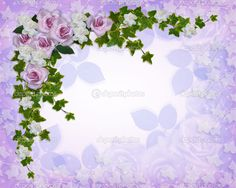Purple Vintage Borders and Frames | borda floral rosas e gardênias - Imagem…