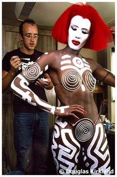 Grace Jones being body painted by none other than the late amazing Keith Haring.