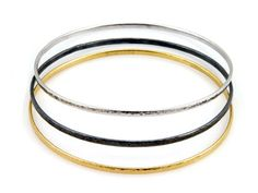 Sterling Silver Layered with Blackened Silver and 24K Gold, Bangles by GURHAN