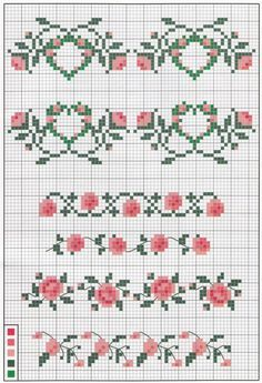 Rose borders cross stitch chart