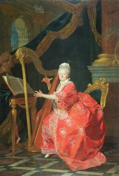Portrait of a Lady, said to be Madame Adelaide, daughter of Louis XV, playing a harp (oil on canvas)