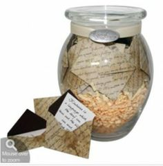 A simple way to send a smile! Jar of 31 personalized messages in mini envelopes for the recipient to open each day or anytime they need a lift. Pre-printed themed messages also available for additiona . Christmas Gifts For Girlfriend, Best Christmas Gifts, Boyfriend Gifts, Homemade Christmas, Sympathy Notes, Sympathy Messages, Sympathy Cards, Unique Sympathy Gifts, Unique Gifts
