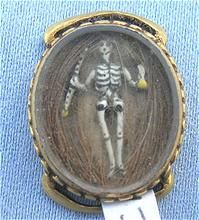 Magnificent Memento Mori piece from Robbins Roost. Mourning Jewelry, Memorial Jewelry, Stuart Crystal Slide, Full Skeleton, 1689