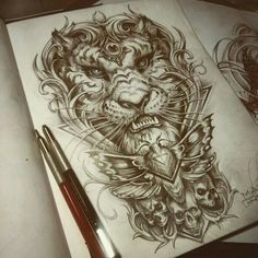 Neo traditional tattoo Neo traditional and Tattoo sketches on . Neo Tattoo, Back Tattoo, Tattoo Drawings, Body Art Tattoos, Sleeve Tattoos, Mens Tattoos, Female Tattoos, Traditional Tattoo Sketches, Traditional Tiger Tattoo