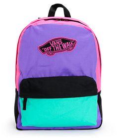 Vans Realm Purple, Green & Pink Colorblock Backpack