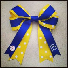 Softball Hair Bow with number on Etsy, $13.00