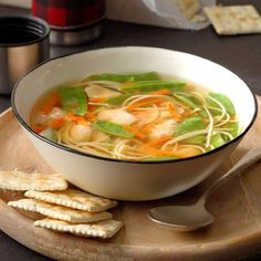 Ginger Chicken Noodle Soup This is one of my favorite soup recipes to serve in the winter time because it's super easy to make and fills the house with a wonderful aroma. My whole family loves it! Chicken Noodle Soup, Chicken Soup Recipes, Crockpot Recipes, Cooking Recipes, Healthy Recipes, Asian Recipes, Chicken Rice, Noodle Recipes, Crock Pot Soup